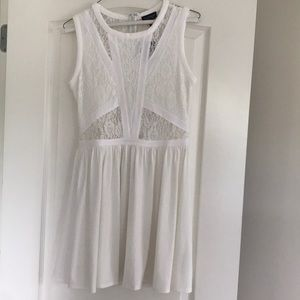 White Dress with Lace Cutouts